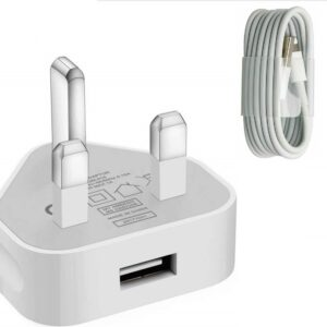 3 pin Charger Plug & USB Data Cable compatible with iPhone
